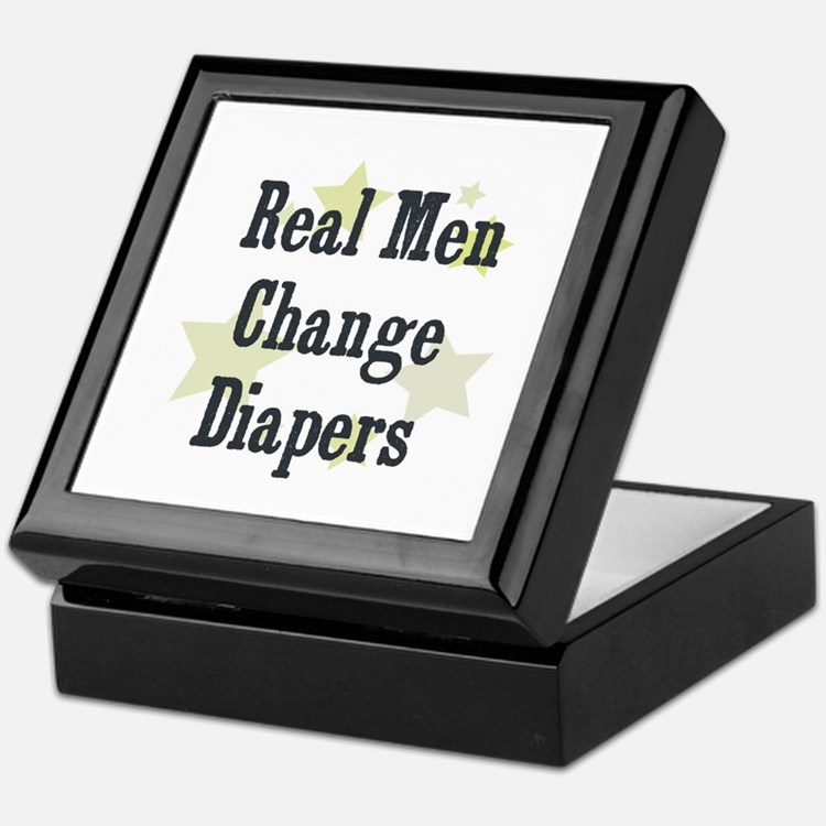 Real Men Change Diapers Keepsake Box