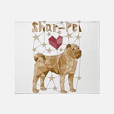 Geometric Shar-Pei Throw Blanket
