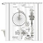 Bicycle Patent Print 1887 Shower Curtain