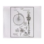 Bicycle Patent Print 1887 Throw Blanket
