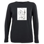Bicycle Patent Print 1887 Plus Size Long Sleeve Te