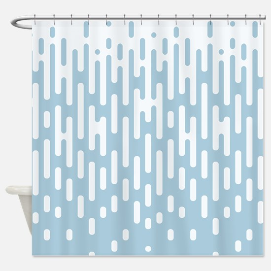Blue Frost Retro Mod Pattern Shower Curtain