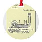 Train Locomotive Patent Paper Print 1842 Round Orn