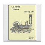 Train Locomotive Patent Paper Print Tile Coaster