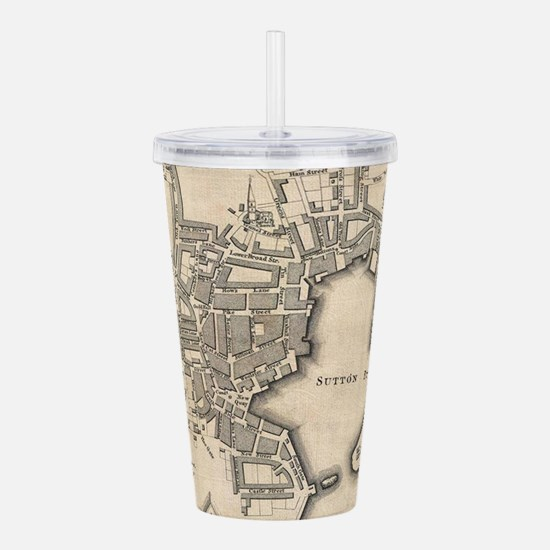 Vintage Map of Plymout Acrylic Double-wall Tumbler