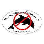 Anti-Dolphin Oval Sticker