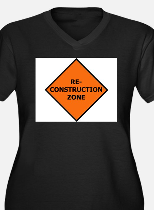 Re-Construction Women's Plus Size V-Neck Dark T-Sh