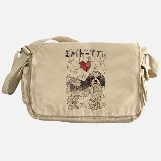 Geometric Shih-Tzu Messenger Bag