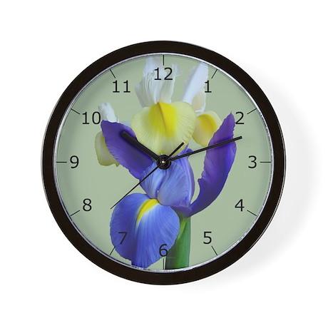 Blue & Yellow Iris Flowers #1g Wall Clock