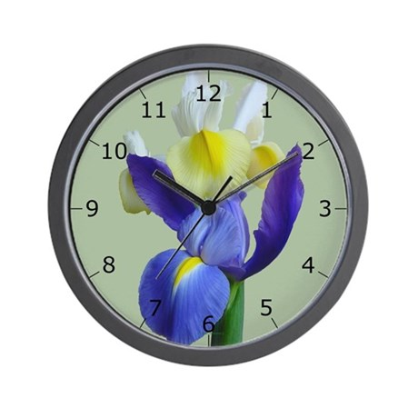 blue yellow iris flowers 1g wall clock by ceceliabarnes