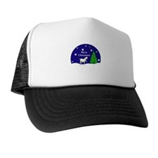 White Goat Merry Christmas Trucker Hat