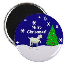 """White Goat Merry Christmas 2.25"""" Magnet (10 pack)"""