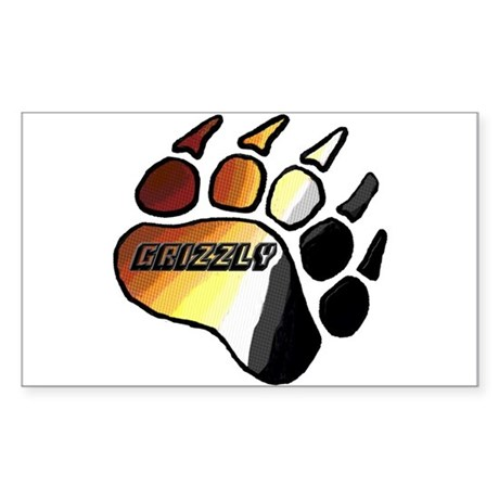 BEAR PRIDE PAW/GRIZZLY Rectangle Sticker