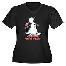 Goodbye Cruel World Snowman Women's Plus Size V-Ne