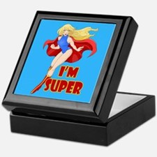 Woman Super Hero Flying With Cape Keepsake Box