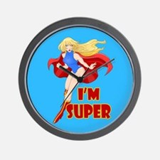 Woman Super Hero Flying With Cape Wall Clock