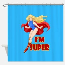 Woman Super Hero Flying With Cape Shower Curtain
