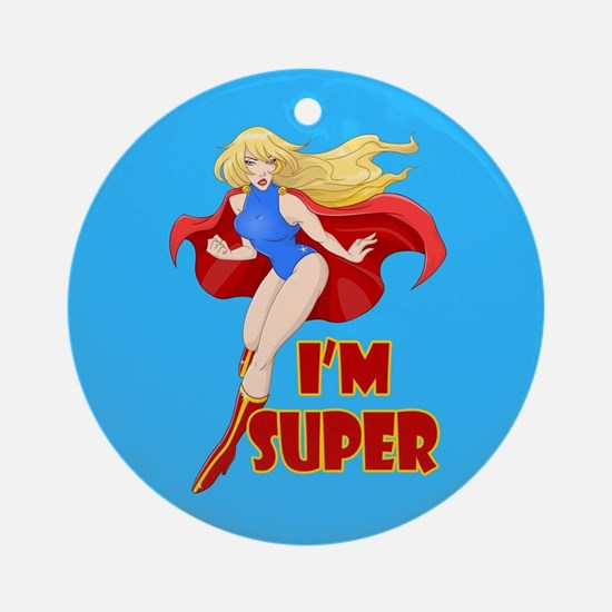 Woman Super Hero Flying With Cape Round Ornament