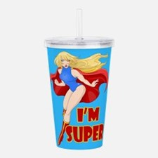 Woman Super Hero Flyin Acrylic Double-wall Tumbler