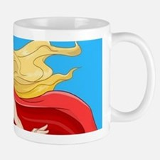 Woman Super Hero Flying With Cape Mugs
