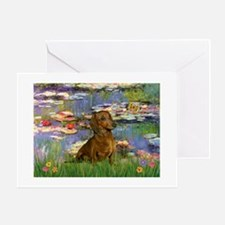 Dachshund in Monet's Lilies Greeting Cards (Packa