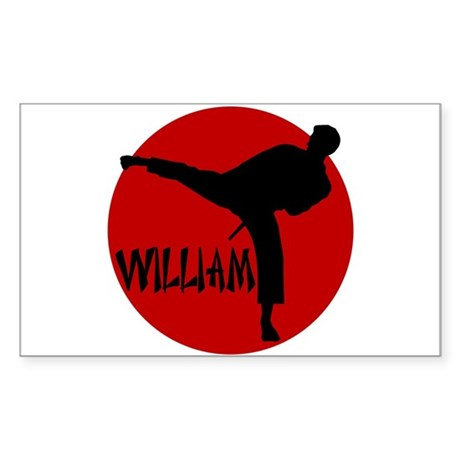 William Karate Rectangle Sticker