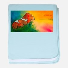 dog at sunrise - its a new day.jpg baby blanket