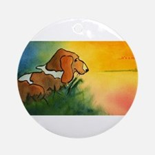 dog at sunrise - its a new day.jpg Round Ornament