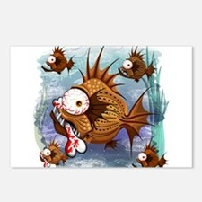 Psycho Fish Piranha Postcards (Package of 8)