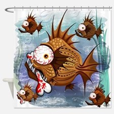 Psycho Fish Piranha Shower Curtain