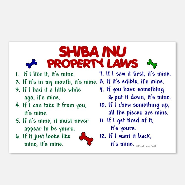 Shiba Inu Property Laws 2 Postcards (Package of 8)