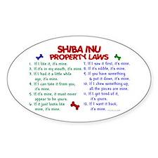 Shiba Inu Property Laws 2 Oval Decal
