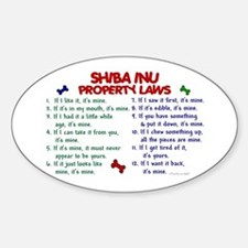 Shiba Inu Property Laws 2 Oval Decal