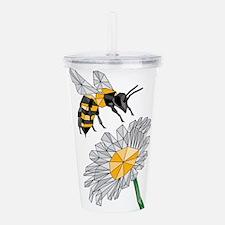 Geometric Bee & Flower Acrylic Double-wall Tumbler