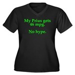 Prius 46 MPG Women's Plus Size V-Neck Dark T-Shirt