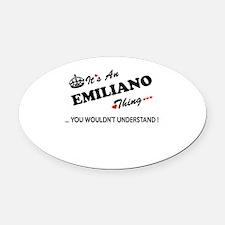 Cute Emiliano Oval Car Magnet