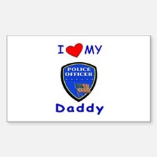 I Love Police Daddy Rectangle Decal