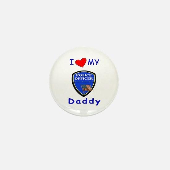 I Love Police Daddy Mini Button