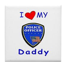 I Love Police Daddy Tile Coaster