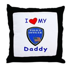 I Love Police Daddy Throw Pillow