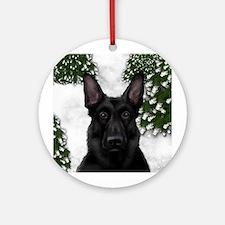 BLACK GERMAN SHEPHERD DOG WINTER Ornament (Round)
