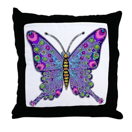 Funky Purple Butterfly Throw Pillow