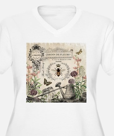 Modern Vintage French Bee Garden Plus Size T-Shirt