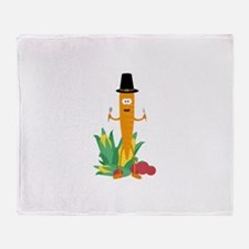 Thanksgiving Carrot with Vegetables Throw Blanket