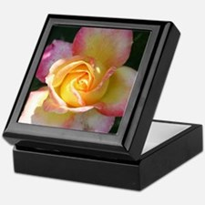 Pink Yellow Rose Keepsake Box