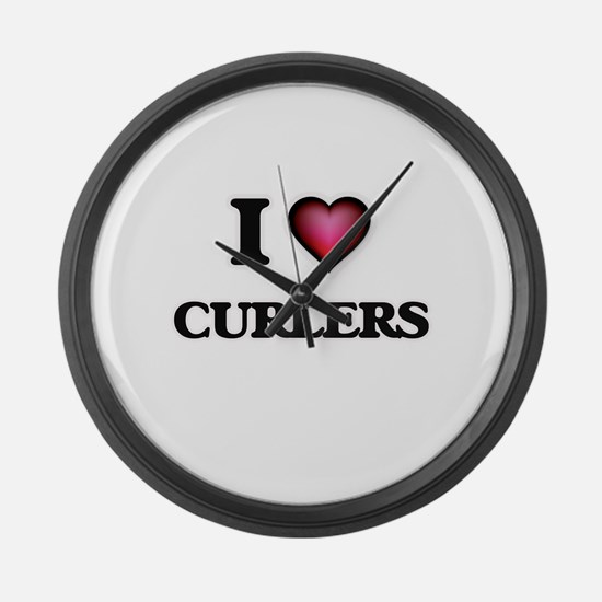 I love Curlers Large Wall Clock