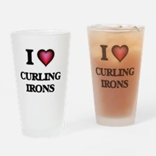 I love Curling Irons Drinking Glass