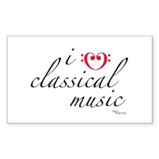 i love classical music Rectangle Decal