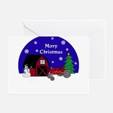 Red Tractor Christmas Greeting Card