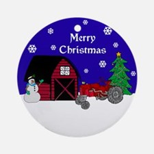 Red Tractor Christmas Ornament (Round)
